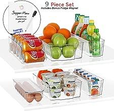 StorageMaid Stackable Storage Fridge Bins - Refrigerator Organizer Bins for Fridge, Freezer, Pantry And Kitchen. Includes Bonus Magnetic Dry-Erase Whiteboard & Markers Set (9-Piece Set)