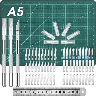 65 Piezas Set de Cuchillos Artesanales, Incluye 3 Piezas de Cuchillo Hobby Cuchillos de Talla Cuchillo de Precisión Cuchillo de Plantilla 60 Piezas Cuchillas Base de Corte Regla de Acero Inoxidable