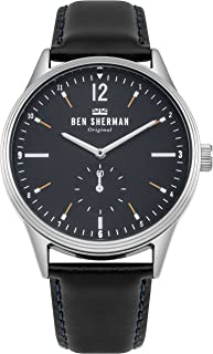 Men's Spitalfields Vinyl Geo Quartz Watch with Leather Calfskin Strap, Black, 22 (Model: WB015UB
