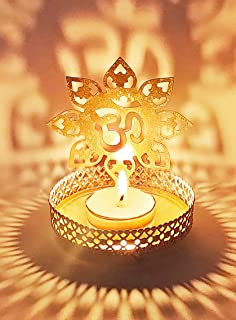 Craftsman OM Shadow Diya for Diwali Decoration Gift Traditional Decorative Statue for Home/Office Religious Tea Light Cand...