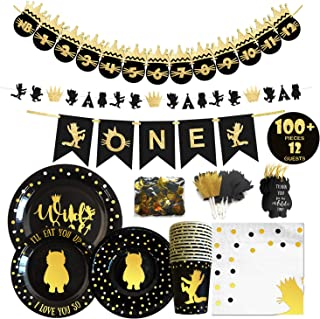 Wild One Birthday Decorations I 100+ Pieces Wildone Party Supplies I Party Plates I Napkins I Disposable Cups I Garlands I High Chair and Monthly Photo Banner I Cake Toppers I Confetti Tags I Bowls