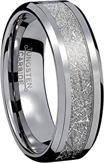 8mm Men Silver Tungsten Carbide Engagement Ring Imitated Meteorite Wedding Band High Polished Comfort Fit