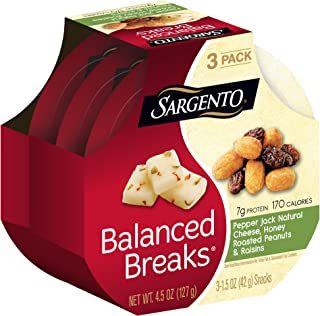 Sargento Balanced BreaksPepper Jack Natural Cheese with Honey Roasted Peanuts and Raisins, 1.5 oz, 3-Pack