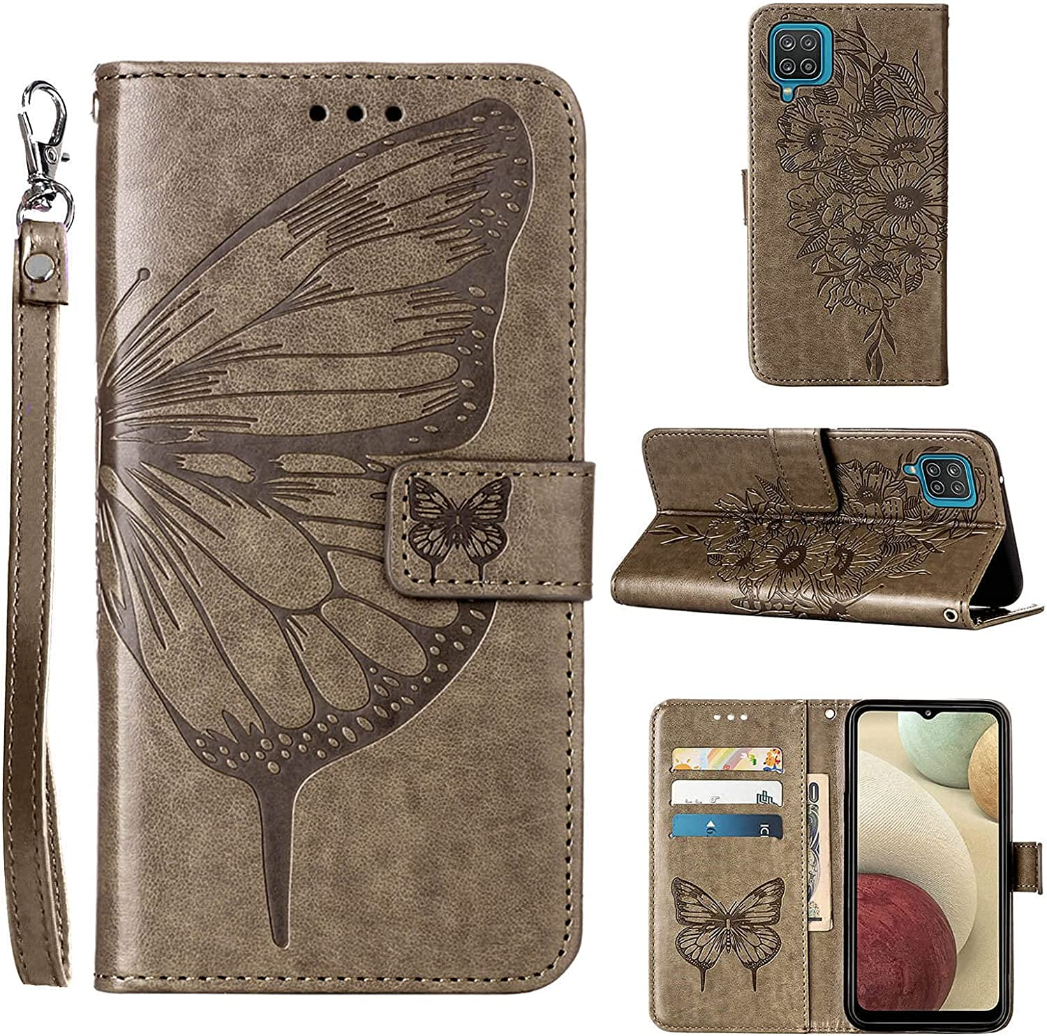 A12 Phone Case Wallet,for Galaxy A12 Case,[Kickstand][Wrist Strap][Card Holder Slots] Butterfly Floral Embossed PU Leather Flip Protective Cover for Samsung A12 Case (Gray)