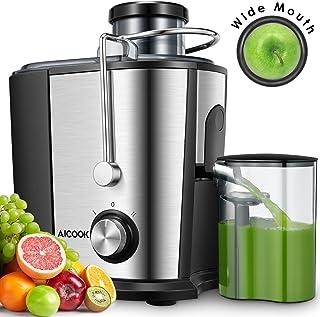 Aicook Licuadoras para Verduras y Frutas, 600W Licuadora con 65MM de Boca Ancha, Extractor de Jugos Acero Inoxidable de Grado Alimenticio Llibre de BPA, Doble Velocidad con Función Aanti-Goteo