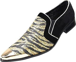 Amali Scott, Mens Loafers Slip On Shoes Metallic Toe Smoking Slippers Mens Casual Shoes Sparkle Animal Print Men`s Dress S...