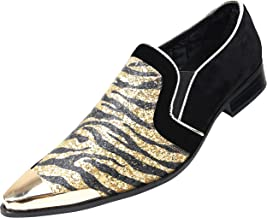 Amali Scott, Mens Loafers Slip On Shoes Metallic Toe Smoking Slippers Mens Casual Shoes Sparkle Animal Print Men's Dress Shoes
