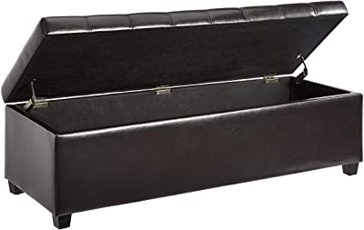 First Hill Tufted Faux Leather Storage Ottoman Bench, Brown
