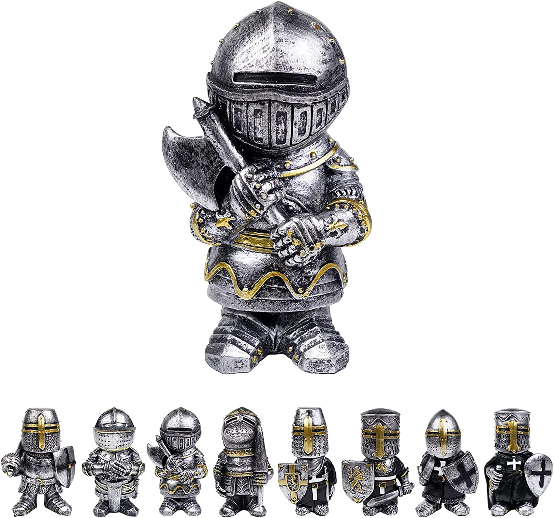 Miniature Knight Gnomes Guard Funny Armor Cross Templar Crusader Figurine Sit Ornaments Garden Yard Art Decoration (Type^1)