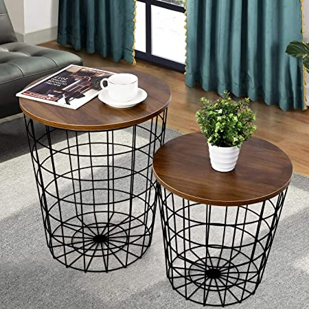 Amazon Com Lavish Home Convertible Round Metal Basket Veneer Wood Top Accent Side Home And Office Nesting End Tables With Storage Set Of 2 White Home Kitchen