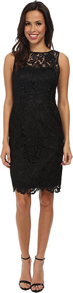 Adrianna Papell Lace Fractured Fit Flare Dress Blush