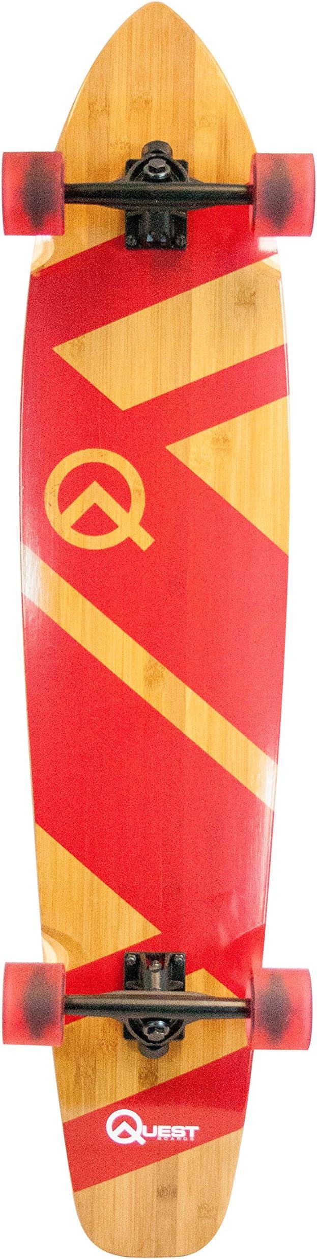 """Quest Skateboards Super Cruiser Crimson Bamboo & Maple Skateboard, Red, 44"""""""