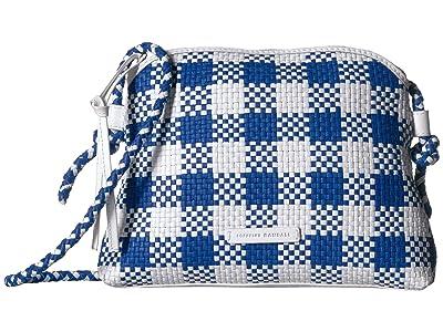 Loeffler Randall Mallory Woven Crossbody Bag (Blue/White) Handbags