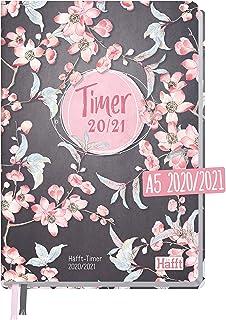 Häfft-Timer 2020/2021 A5 [Pink Blossom] Hardcover Schüler-Kalender, Schüler-Planer,..