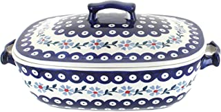Blue Rose Polish Pottery Blue Violet Covered Baking Dish