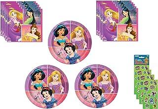 Disney Princess Party Plates (24 Plates) & Beverage Napkins (32 Napkins) Party Pack. Bundle of 5.