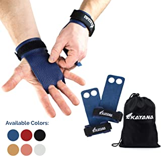 KAYANA 2 Hole Leather Gymnastics Hand Grips - Palm Protection and Wrist Support for Cross Training, Kettlebells, Pull ups, Weightlifting, Chin ups, Workout, Exercise