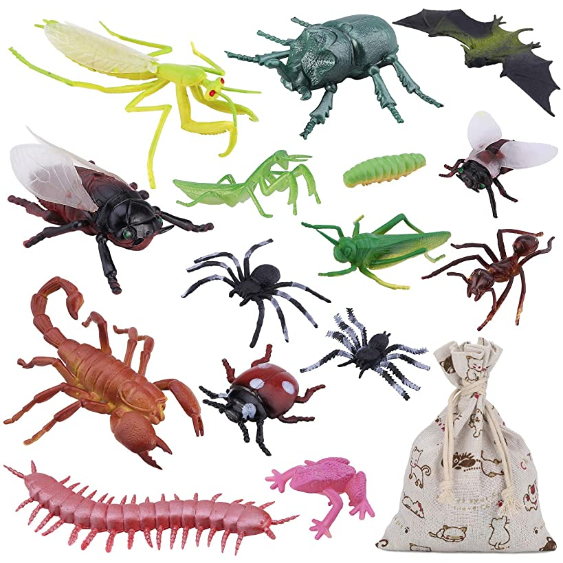 """15PCS Bug Toy Figures Giant Insects Playset for Kids - 3-6"""" Fake Bugs - Spiders, Cockroaches, Scorpions, Crickets and Worms for Education and Christmas Party Favors with Drawstring Burlap Bag"""
