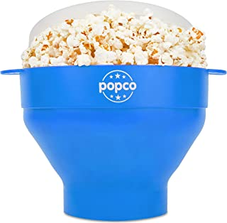 The Original Popco Silicone Microwave Popcorn Popper- 15 Colors Choices - Silicone Popcorn Maker with Handles, Collapsible...