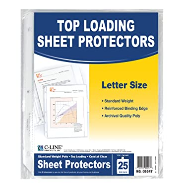 C-Line Top Loading Standard Weight Poly Sheet Protectors, Clear, 8.5 x 11 Inches, 25 per Pack (05047)
