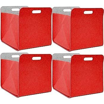 DuneDesign 4 Cajas almacenaje Fieltro 33x33x38cm Cesta Fieltro Caja Kallax Inserción en estanterías ´ Rojo: Amazon.es: Hogar