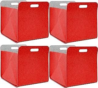DuneDesign Lot de 4 Boîte de Rangement Feutre 33x33x38 cm Kallax Panier Feutrine Étagère IKEA Rouge