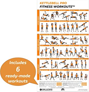 Kettlebell Pro Fitness Workout Poster: Includes 6 Free...