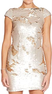 Adrianna Papell womens Short Sleeve Convertible Color Sequin Cocktail Dress Formal Night Out Dress