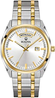 Bulova Men's Classic Quartz Watch with Stainless-Steel Strap, Two Tone, 22 (Model: 98C127)
