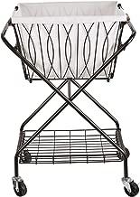 Artesa 5187033 Verona Collapsible Metal Laundry Cart with Removable Basket & Canvas Bag, 20.5