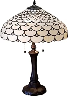 Tiffany Style Table Lamp Banker Jeweled 18
