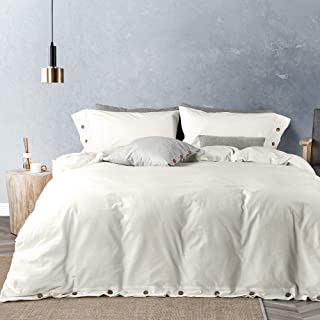 JELLYMONI White 100% Washed Cotton Duvet Cover Set, 3 Piece Luxury Soft Bedding Set with Buttons Closure. Solid Color Pattern Duvet Cover Queen Size(No Comforter)