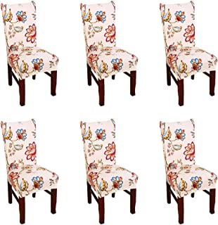 Best Argstar 6 Pack Chair Covers, Stretch Armless Chair Slipcover for Dining Room Seat Cushion, Spandex Kitchen Parson Chair Protector Cover, Removable & Washable, Beige Spring Flower Design Review