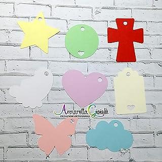 Cartellini colorati per Bomboniere, a partire da 20 pezzi, battesimo, Prima Comunione, Cresima, Matrimonio, Tag fai da te,...