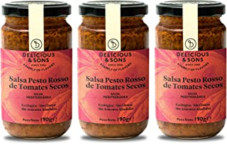 Delicious & Sons Salsa Pesto Rosso de Tomates Secos 190g (Pack de 3)