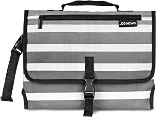 Zooawa Baby Portable Diaper Changing Pad, Lightweight Waterproof Travel Diaper Clutch, Diaper Changing Mat Station with Mesh Pockets and Padded Head Rest for Baby Infants - Gray + White