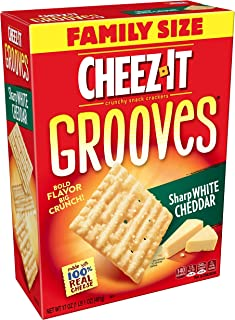 Cheez-ItGrooves Crispy Cheese Cracker Chips, Sharp White Cheddar, Family Size, 17 oz Box