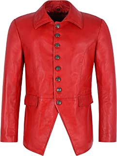 LUCIFER RED Men's Jacket Smart Gothic Style Real Lambskin Leather Shirt Jacket