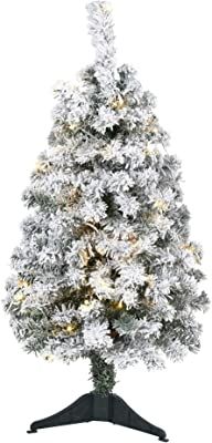 Nearly Natural 3ft. Flocked Rock Springs Spruce Artificial Christmas Tree with 50 Clear LED Lights, Green