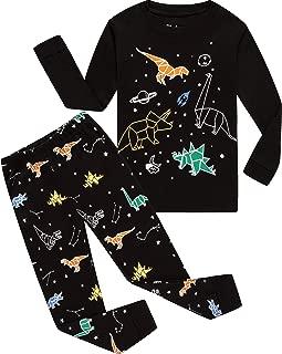 Children Pajamas Boys Glow in Dark Dinosaur Pj Cotton Sleepwear Set Toddler Kids Clothes