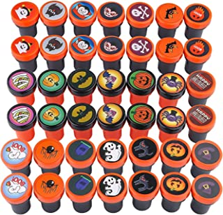 Tinabless Halloween Kids Stamps(42 Pieces), Halloween Assorted Stamps, Self-Ink Stamps, Plastic Stamps, Trick Or Treat Stamps for Halloween Party Favors, Game Prizes, Halloween Goodies Bags