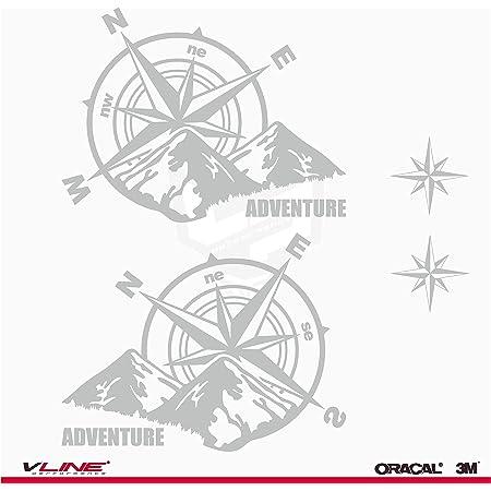 Provinyl Aufkleber Kompass Rosa Windschutz Trail Off Road Suv 4 X 4 Sport 2 Sterne Für Auto Oder Motorrad Silber Auto