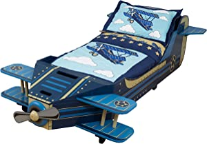 KidKraft 76277 Lettino stile Aeroplano con giroletto in legno, mobili per camera da letto per bambini