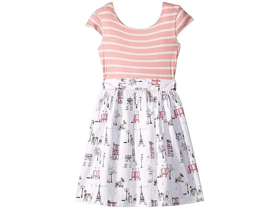 fiveloaves twofish Maddy Cafe Pink Stripe Dress (Toddler/Little Kids/Big Kids) (Pink/White) Girl