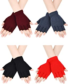 Best 4 Pairs Fingerless Gloves Half Finger Mittens Winter Solid Color Knitted Typing Gloves for Boys and Girls Review