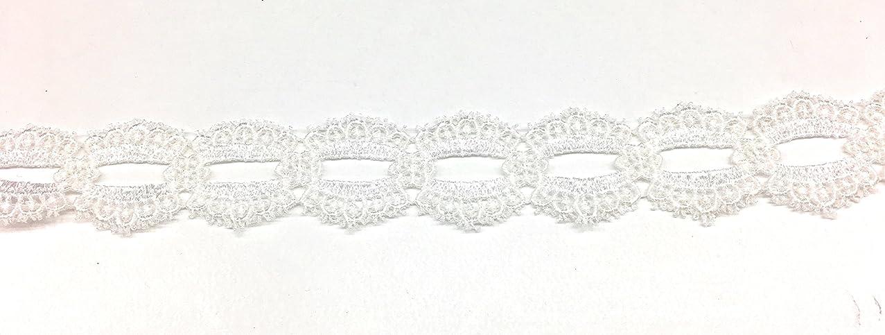 1.25'' Venice Lace Duel Scalloped Applique Sewing Trim Bridal Wedding Applique White 5 yards