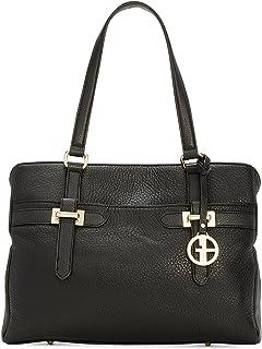 Giani Bernini Womens Bridle Leather Organizational Tote Handbag Black Medium