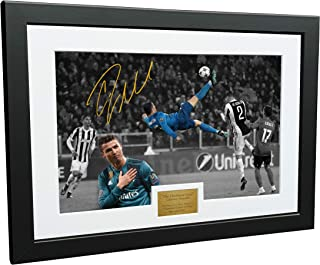 "Cristiano Ronaldo 12x8 A4 Signed The Overhead Goal -Juventus 0 vs Real Madrid 3"" - Autographed Photo Photograph Picture Frame Soccer Gift"