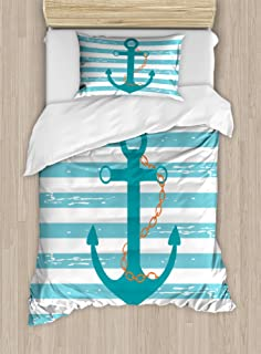 Ambesonne Teal Duvet Cover Set, Ship Anchor Chain Marine Life Inspired with Lines Background Ocean Sailing, Decorative 2 Piece Bedding Set with 1 Pillow Sham, Twin Size, Turquoise White