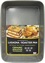 casaWare 15 x 10 x 3-Inch Ultimate Series Commercial Weight Ceramic Coated Non-Stick Lasagna/Roasting Pan (Silver Granite)